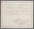 "Western Expansion:Cowboy, Sheriff's Arrest Warrant for Reeves County, Texas, Dated September 10, 1891, for Pecos City, Charging One Charles Irvin with ""..."