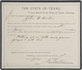 Western Expansion:Cowboy, Sheriff's Warrant Issued by El Paso County, Texas, Dated July 1,1895, for the Arrest of Notorious Gunfighter and Outlaw John ...