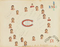 Hockey Collectibles:Others, 1960-61 Montreal Canadiens Team Signed Display....