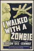 "Movie Posters:Horror, I Walked With a Zombie (RKO, R-1952 and R-1956). One Sheet (27"" X41"") and Lobby Card Set of 8 (11"" X 14""). Horror.. ... (Total: 9Items)"
