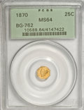 California Fractional Gold: , 1870 25C Liberty Octagonal 25 Cents, BG-762, Low R.4, MS64 PCGS.PCGS Population (3/2). NGC Census: (1/0). (#10589)...