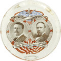 Political:Miscellaneous Political, Roosevelt & Fairbanks: 1904 Jugate Glass Paperweight withColorful Design....