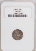 Barber Dimes: , 1903 10C MS65 NGC. NGC Census: (13/8). PCGS Population (20/11).Mintage: 19,500,756. Numismedia Wsl. Price for NGC/PCGS coi...