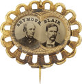 Political:Ferrotypes / Photo Badges (pre-1896), Seymour & Blair: A Choice Ferrotype Jugate Pin from the 1868Campaign. ...