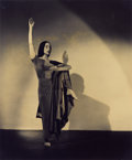Photography :20th Century , BARBARA MORGAN (American, 1900-1992). Martha Graham - American Document - Indian Solo, 1938-1946. Vintage gelatin silver...