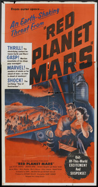 """Red Planet Mars (United Artists, 1952). Three Sheet (41"""" X 81""""). Science Fiction"""
