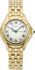 Timepieces:Wristwatch, Cartier Lady's Gold Cougar Wristwatch, circa 2000. ...