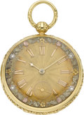 Timepieces:Pocket (pre 1900) , M.I. Tobias & Co. Liverpool Gold Lever Fusee, Multicolor Dial,circa 1850. ...