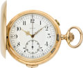 Timepieces:Pocket (pre 1900) , Invicta Gold Minute Repeater with Chronograph, circa 1895. ...