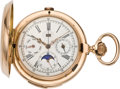 Timepieces:Pocket (pre 1900) , Swiss Gold 1/4 Hour Repeater with Chronograph, Calendar and MoonPhases, circa 1890. ...