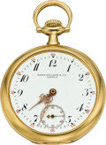 Timepieces:Pocket (post 1900), Patek Philippe Gold Pocket Watch, circa 1905. ...