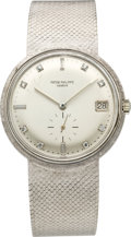Timepieces:Wristwatch, Patek Philippe Ref. 3445/6 White Gold Automatic with Diamond Dial,circa 1968. ...