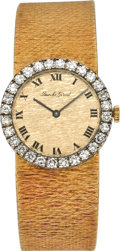 Timepieces:Wristwatch, Bueche Girod Lady's Gold & Diamond Wristwatch, circa 1970's. ...