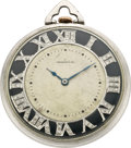 Timepieces:Pocket (post 1900), Tiffany & Co. Platinum Pocket Watch with Diamond Dial, circa 1925. ...