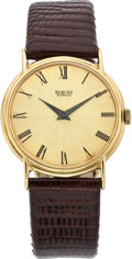Timepieces:Wristwatch, Bueche Girod Gold Ultra Thin Wristwatch, circa 1970's. ...