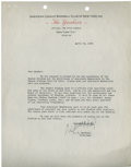 Autographs:Letters, Larry MacPhail Typed Signed Letter ...