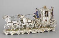 A GERMAN PORCELAIN CARRIAGE GROUP 20th Century Marks: Germany 11-1/2 x 24-1/4 x 7-1/2 inches (29