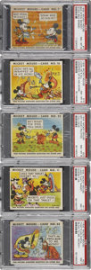 Non-Sport Cards:Lots, 1935 R89 Mickey Mouse-Type 1 PSA NM-MT 8 Group of (5)....