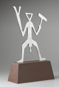 Fine Art - Sculpture, European:Contemporary (1950 to present), A.R. PENCK (German, b. 1939). Figure. Stainless steel on wood base. 17-1/4 x 12 x 0-1/2 inches (43.8 x 30.5 x 1.3 cm). E...