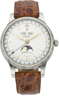 "Rolex ""Padellone"" Ref. 8171 Extremely Fine and Rare Steel Automatic Triple Calendar Wristwatch with Moon Phase..."