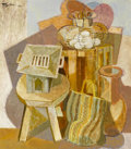 Fine Art - Painting, American:Contemporary   (1950 to present)  , ROMEO V. TABUENA (Filipino, b. 1921). Still Life with EggBasket, 1962. Acrylic on masonite. 54 x 54 inches (137.2 x137...