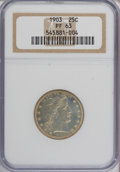 Proof Barber Quarters: , 1903 25C PR63 NGC. NGC Census: (19/185). PCGS Population (42/138). Mintage: 755. Numismedia Wsl. Price for NGC/PCGS coin in...