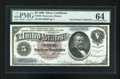 Large Size:Silver Certificates, Fr. 263 $5 1886 Silver Certificate PMG Choice Uncirculated 64....