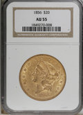 Liberty Double Eagles, 1856 $20 AU55 NGC....