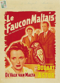 "The Maltese Falcon (Warner Brothers, Late 1940s). Post-War Belgian (11.75"" X 16.25"")"