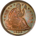 Seated Half Dimes, 1838 H10C Small Stars MS65 NGC....