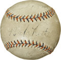 Autographs:Baseballs, Babe Ruth And Lou Gehrig Multi Signed Baseball....