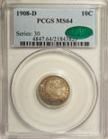 Barber Dimes: , 1908-D 10C MS64 PCGS. CAC. PCGS Population (24/28). NGC Census:(29/30). Mintage: 7,490,000. Numismedia Wsl. Price for NGC/...