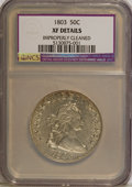 Early Half Dollars: , 1803 50C Large 3--Improperly Cleaned--NCS. XF Details. NGC Census:(37/117). PCGS Population (40/75). Mintage: 188,234. Num...