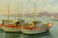 Fine Art - Painting, American:Modern  (1900 1949)  , DONNA NORINE SCHUSTER (American, 1883-1953). Fishing Boats inthe Harbor. Oil on canvas. 14-1/2 x 21-1/2 inches (36.8 x ...