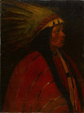 Western:20th Century, WINOLD REISS (American, 1886-1953). Portrait of an Indian Chief. Oil on canvas laid on board. 24 x 18 inches (61.0 x 45....