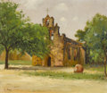 Texas:Early Texas Art - Impressionists, ROBERT WILLIAM WOOD (American, 1889-1979). Spanish Mission.Oil on canvas laid on board. 12-1/2 x 14-1/2 inches (31.8 x ...