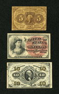 Fractional Currency:First Issue, Three Fractionals.... (Total: 3 notes)