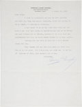 Autographs:Letters, Casey Stengel Signed Letter....