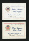Obsoletes By State:Ohio, Lewisburg, OH- Peoples Banking Co. 1¢ Nov. 1917 Two Examples. ...(Total: 2 notes)