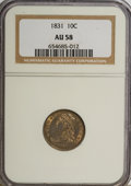 Bust Dimes: , 1831 10C AU58 NGC. NGC Census: (40/165). PCGS Population (26/128).Mintage: 771,350. Numismedia Wsl. Price for NGC/PCGS coi...