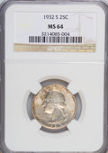 Washington Quarters: , 1932-S 25C MS64 NGC. NGC Census: (498/59). PCGS Population(919/96). Mintage: 408,000. Numismedia Wsl. Price for NGC/PCGS c...