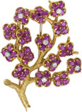 Estate Jewelry:Brooches - Pins, Ruby, Diamond, Gold Clip-Brooch. ...