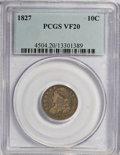 Bust Dimes: , 1827 10C VF20 PCGS. PCGS Population (5/248). NGC Census: (2/228).Mintage: 1,300,000. Numismedia Wsl. Price for NGC/PCGS co...