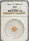 California Fractional Gold: , 1859 25C Liberty Octagonal 25 Cents, BG-702, R.3, MS64 NGC. NGCCensus: (10/29). PCGS Population (73/16). (#10529)...