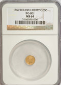 California Fractional Gold: , 1859 25C Liberty Round 25 Cents, BG-801, R.3, MS64 NGC. NGC Census:(11/22). PCGS Population (37/12). (#10662)...