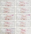 Basketball Collectibles:Others, Bob Cousy Signed Checks Lot Of 10. ...