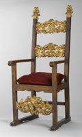 Furniture : Continental, AN ITALIAN PARCEL GILT WOOD ARMCHAIR. Late 17th Century and later.56-1/2 x 22-3/4 x 22 inches (143.5 x 57.8 x 55.9 cm). ...