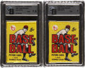 Baseball Cards:Other, 1968 Topps Baseball 5-Cent GAI-Graded Unopened Wax Packs Pair (2). ...