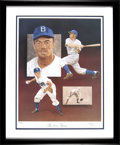 Autographs:Others, Pee Wee Reese Signed Framed Artwork. ...