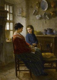 PAUL SEIGNAC (French, 1826-1904) The Reading Lesson Oil on panel 14-1/2 x 10-3/4 inches (36.8 x 2